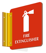 "Fire Extinguisher (with symbol) - 2-Sided - 6"" x 6"""