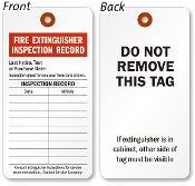 Fire Extinguisher Inspection Tag - 100 Pack